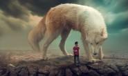 和巨狼合影(PS作品)